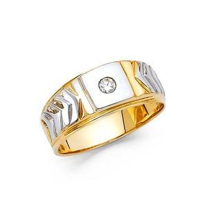 14K Two Tone Gold CZ Men's Ring